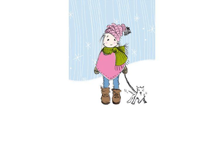 Mädchen mit Hund in Winterlandschaft